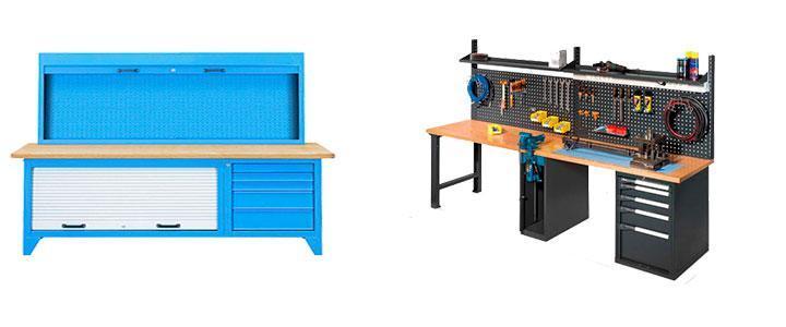 Bancos de trabajo de taller y mesas con cajones y ruedas para heramientas