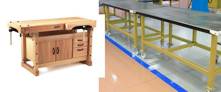 Bancos de trabajo de madera o metálicos, con cajones y ruedas a precios baratos