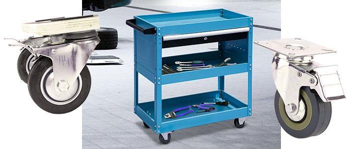 Carrito porta herramientas con 4 ruedas con freno