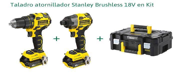 Taladro atornillador Stanley Brushless 18V en Kit