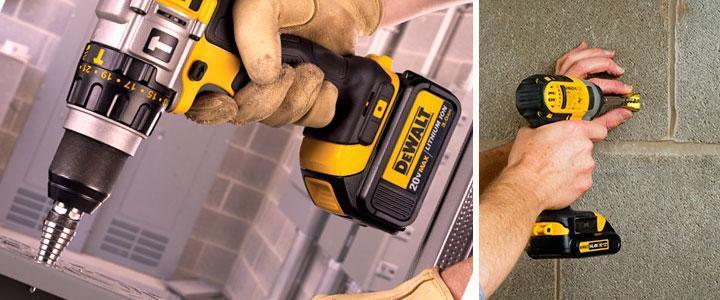 Taladros DeWalt a batería, taladros DeWalt eléctricos, taladros con percutor brushless sin escobillas